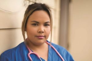 Brittnie in her nurse uniform