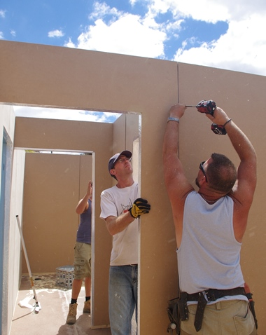 A corporate build with volunteers