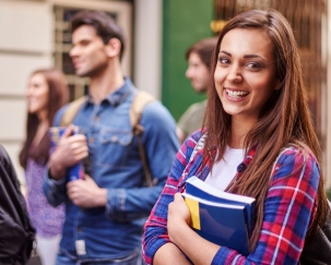 Girl with text book