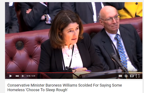 YouTube video of Baroness Williams talking about homelessness