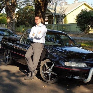 Luke Bott and his car